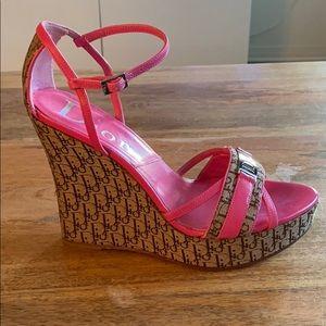 Christian Dior Platform/Wedge Pink Sandal.